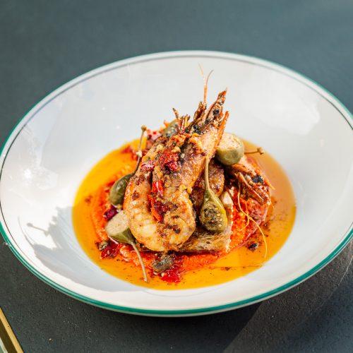 Grilled king prawns, red pepper, cob loaf, Espelette